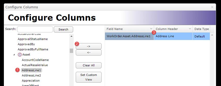 New Configure Columns