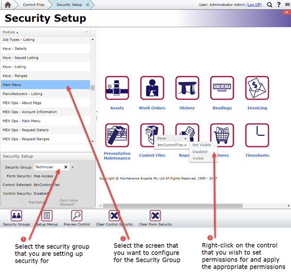 Control Files Security Settings