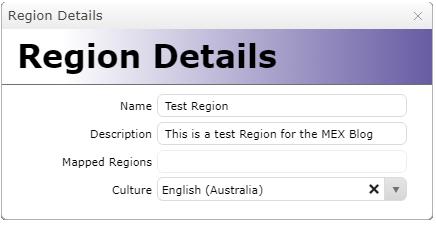 New Region Details Setup
