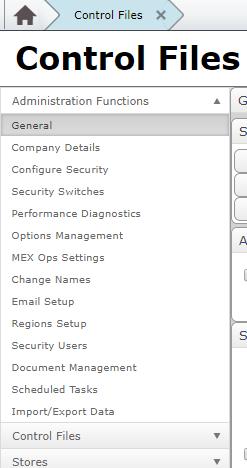 MEX Control Files
