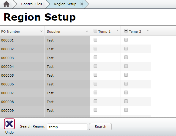 Region Setup Multiple Region Search Result