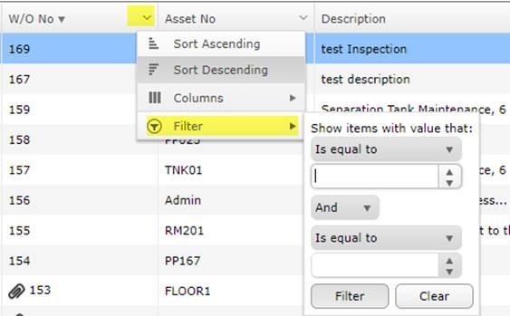 Filtering MEX Work Orer Listing