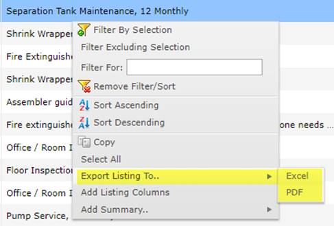 Exporting MEX Work Order LIsting