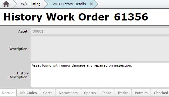 Post Entry MEX Work Order