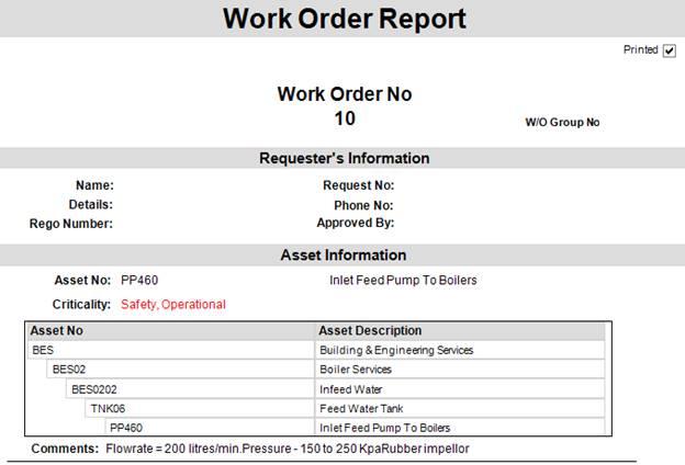 Work Order report