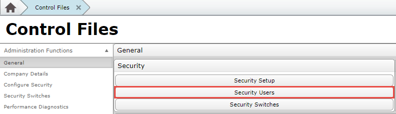 Security Users Button in Control Files