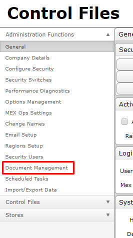Control Files accessing doc management