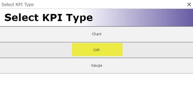 Select KPI type