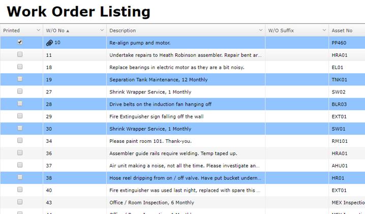 Individual Line Select on WO Listing