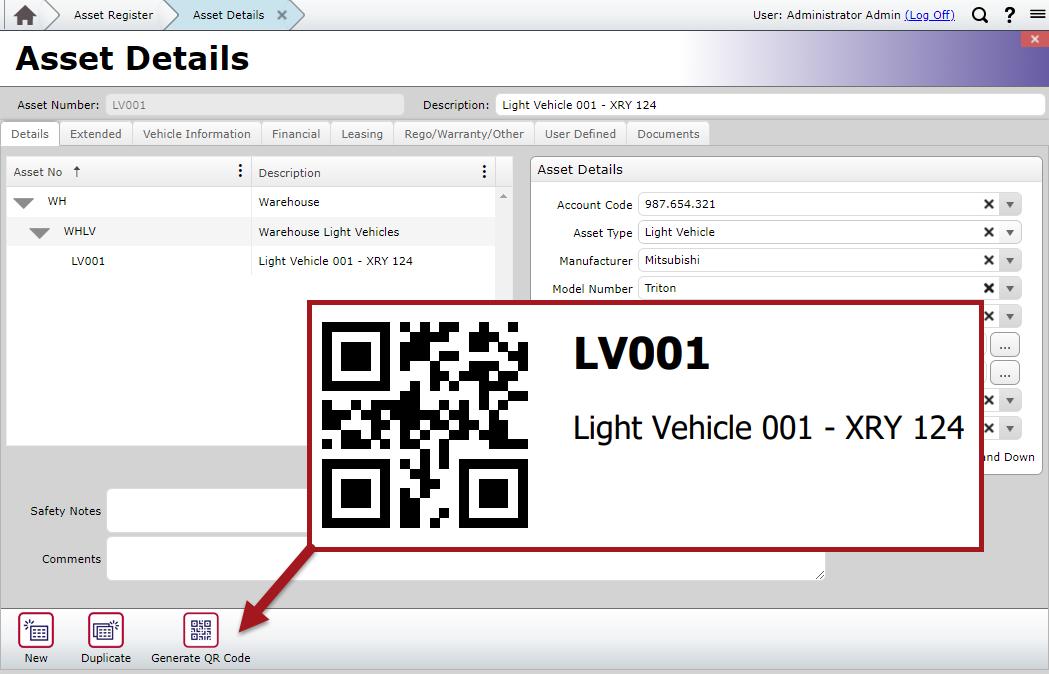 Generate Light Vehicle QR Code