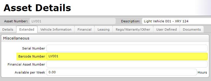 Light Vehicle Asset Barcode