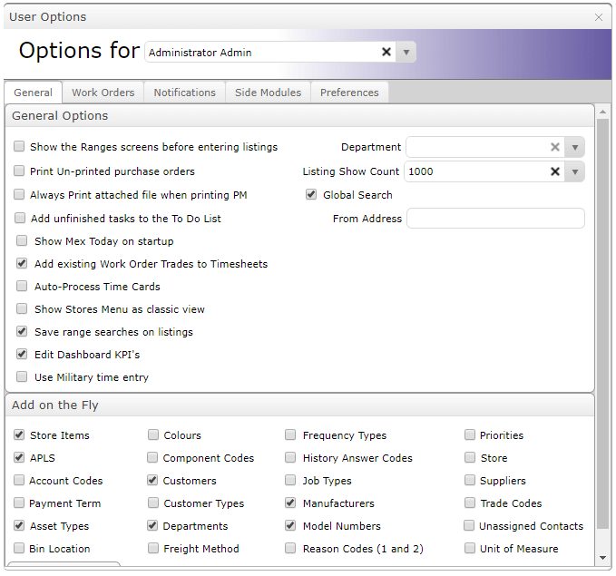 Enable MEX User Option