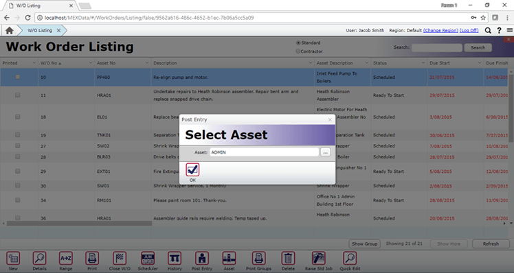 Select Asset for Post Entry WO - Asset Register