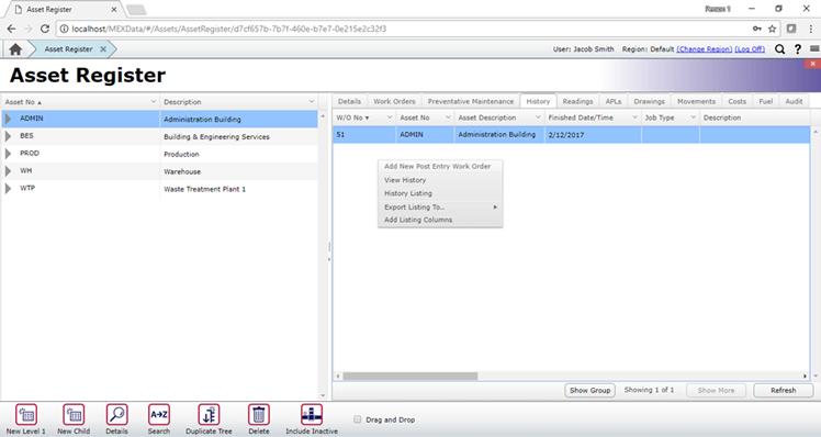 Adding Post Entry WO - Asset Register