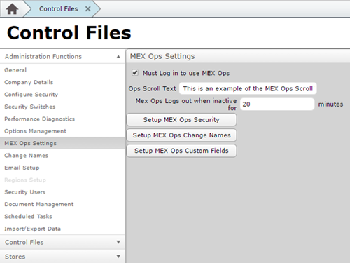 Control Files MEX Ops