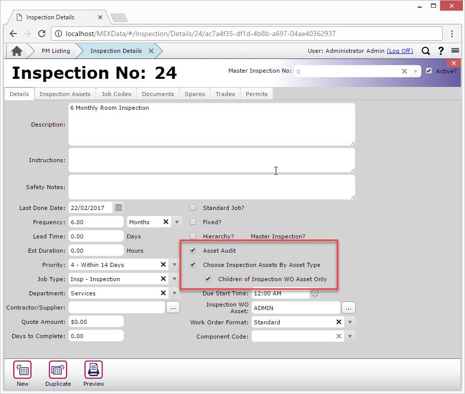 Audit Inspection Form
