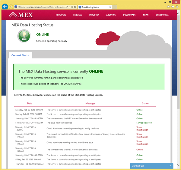 MEX Data Hosting Status Page