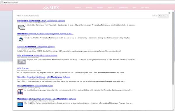 Search Result using MEX search tool