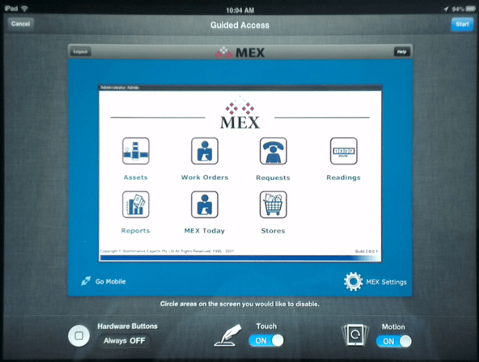 MEX Maintenance Software Guided Access Menu