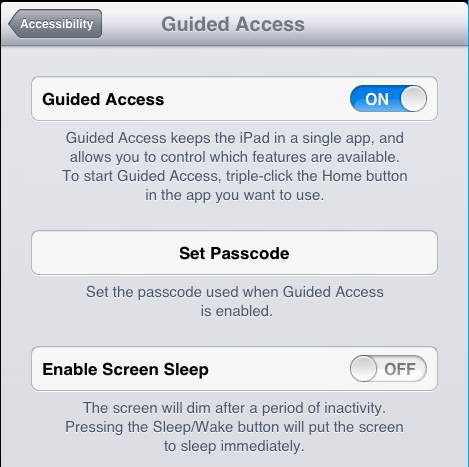 MEX Maintenance Software iPad General Guided Access Settings Menu