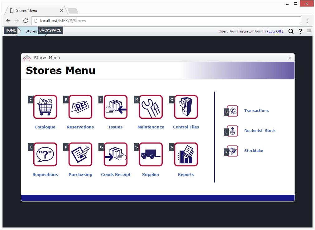 MEX Stores Menu Hot Keys Example