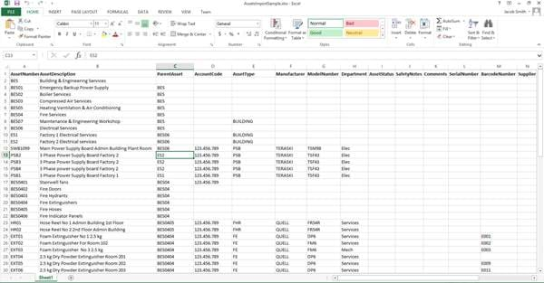 Excel Import Template MEX V15
