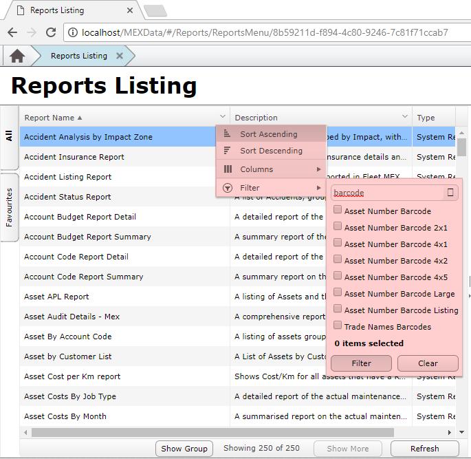 MEX Reports Listing