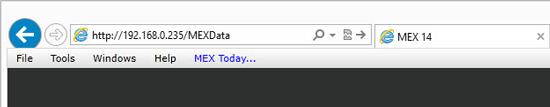 MEX Server Address in Browser