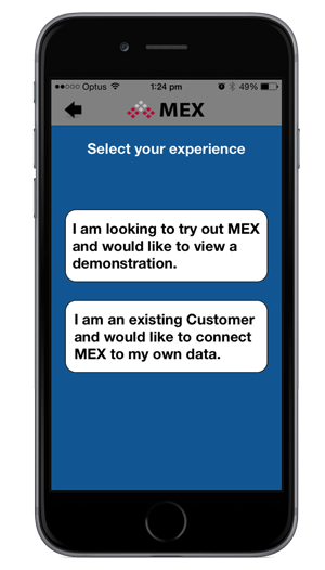MEX iOS app Start Up Options