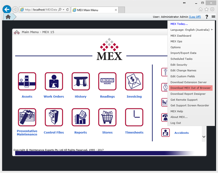 Open MEX Out of Browser