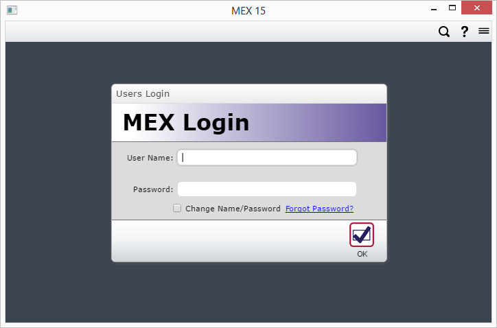 Login to MEX OOB