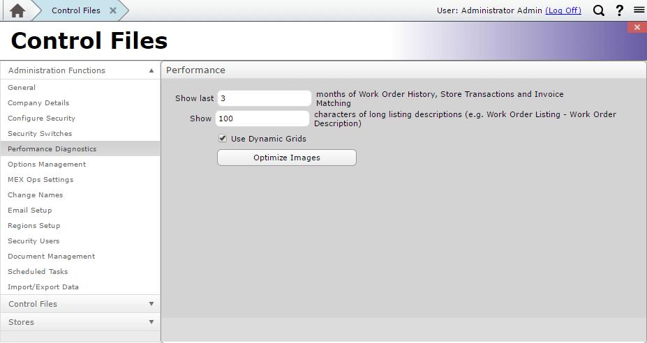 Performance Diagnostics MEX Control Files
