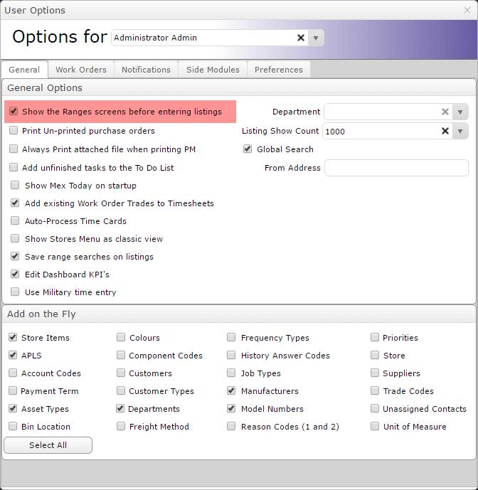Show Ranges Screen Tools Options