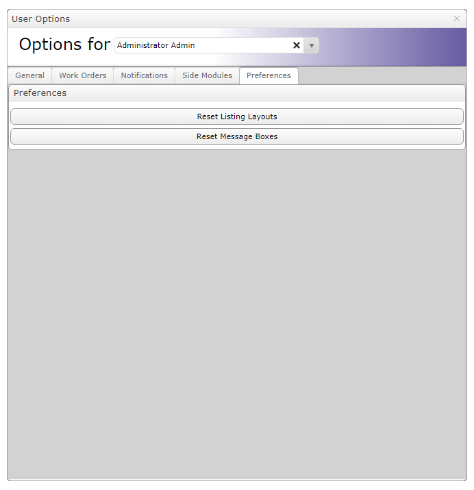 MEX user Options - Preferences