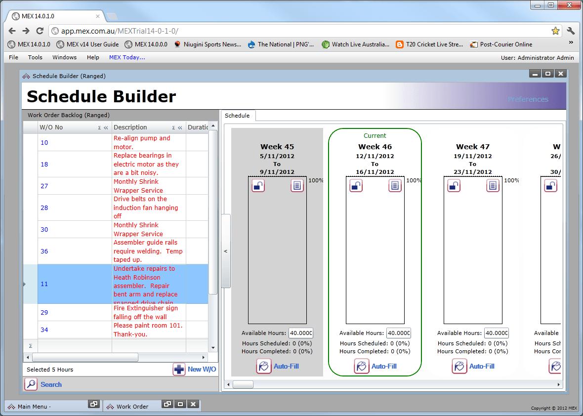 MEX Schedule Builder