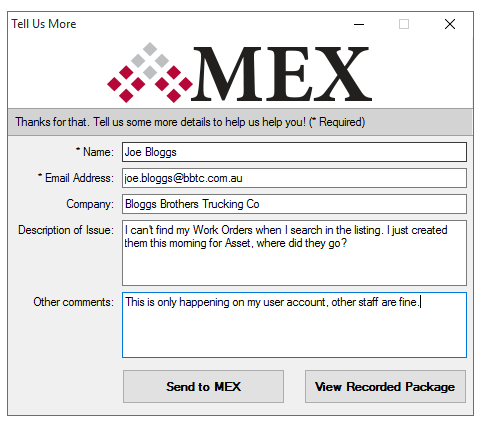 User Details in Recorder form