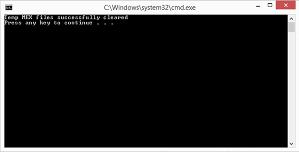 Command Prompt Confirmation MEX