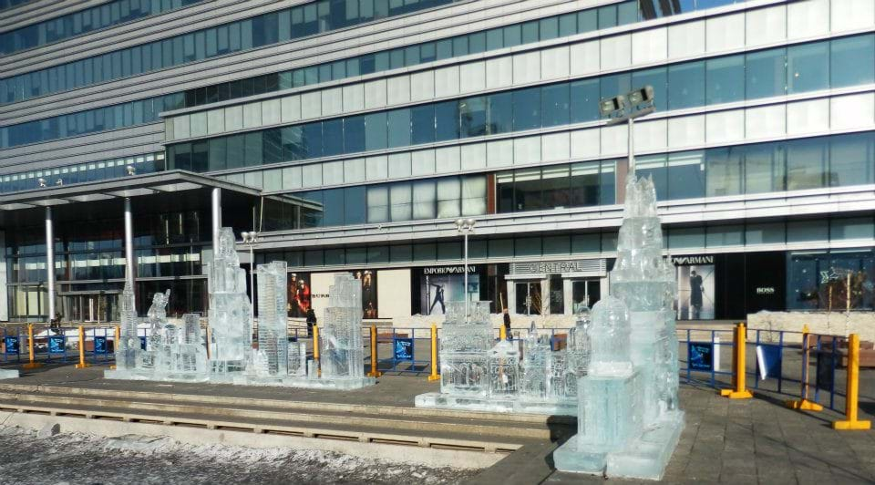 Ice sculptures outside Central