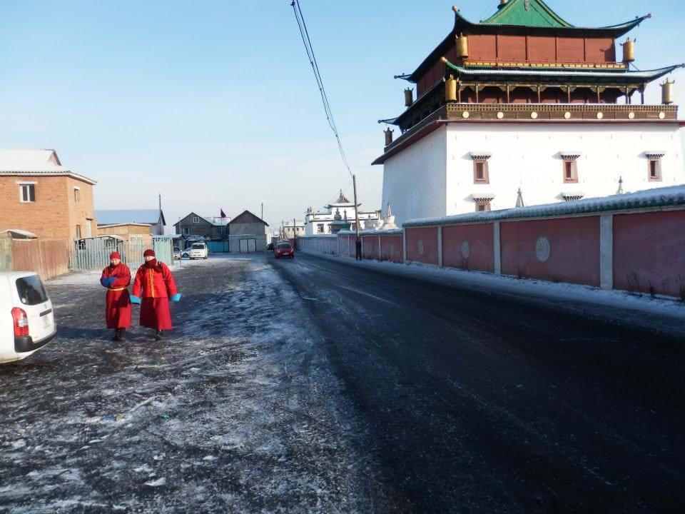 Monks outside the Gandan Monastery